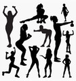 silhouettes of woman fitness 2 vector image vector image