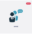 two color advise icon from social media concept