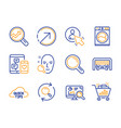 user social media and research icons set quick vector image vector image