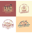 vintage rustic chicken emblems collection vector image vector image