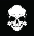 white skull on a black background vector image vector image