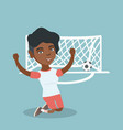 young african soccer player celebrating a goal vector image vector image
