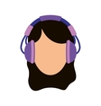 Young person with headphones vector image vector image