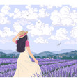 young woman enjoys lavender field vector image vector image