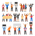 Cheering Protesting Crowd Set vector image