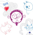 art hand drawn of personality sad emotions vector image