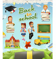 Back to school Education icon set Funny cartoon vector image vector image