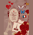 banner with the eiffel tower roses and butterfly vector image vector image