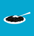 black rice porridge in plate and spoon isolated vector image