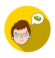 Businessman dreaming about money icon in flat vector image