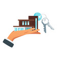 businessman hand holding house vector image