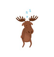 cartoon character of sleepwalker moose wild vector image vector image