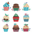 cartoon christmas pastry cupcakes decorated vector image vector image