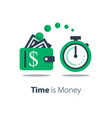 cash back wallet with dollar sign and stopwatch vector image vector image