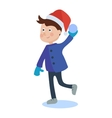 Christmas kid playing winter vector image