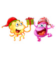 Christmas theme with monsters and present vector image vector image