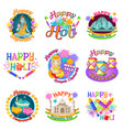 colorful traditional indian holidays labels set vector image