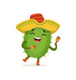 cute mexican cactus funny plant character in vector image vector image