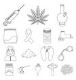 drug addiction and attributes outline icons in set vector image vector image