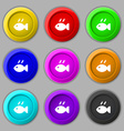 Fish dish Icon sign symbol on nine round colourful vector image