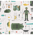 Fishing seamless pattern Fishing design elements vector image vector image