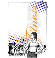 fitness woman color poster background vector image vector image
