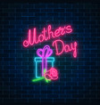 glowing neon banner of mothers holiday on dark vector image vector image