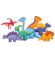 group of cute dinosaur vector image