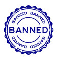 grunge blue banned word round rubber seal stamp vector image vector image
