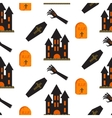 Halloween castle seamless pattern vector image vector image