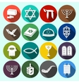 Judaism Icons Set Flat vector image