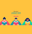 literacy day web template children reading book vector image