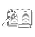 magnifying glass and academic book design vector image vector image