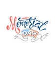 memorial day with stars ribbon and lettering vector image vector image