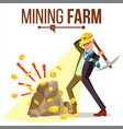 mining farm businessman miner digital vector image