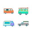 minivan icon set cartoon style vector image