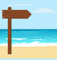 notice wood arrow board on a beach vector image