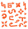 orange 3d arrows set of different shiny web signs vector image vector image