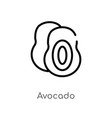 outline avocado icon isolated black simple line vector image vector image