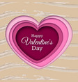paper cut heart happy valentines day vector image
