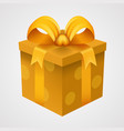 present yellow box with golden ribbon vector image vector image