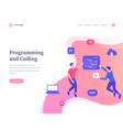 programming and coding concept workflow flying vector image