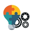 puzzle bulb gears teamwork support design vector image vector image