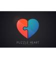 Puzzle heart Love logo design Heart logo design vector image vector image