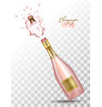 realistic pink champagne explosion vector image vector image