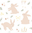 repeating hand-drawn print easter pattern with vector image