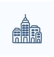 Residential buildings sketch icon vector image vector image