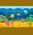 sea underwater fishes cartoon aquarium background vector image