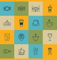 set of 16 restaurant icons includes soda drink vector image