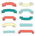 small ribbon banner cute set hand drawn vector image